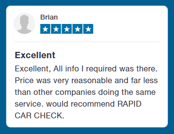 Customer Testimonial - Excellent - Excellent, All info i require was there. Price was very reasonable and far less than other companies doing the same service. would recommend RAPID CAR CHECK.