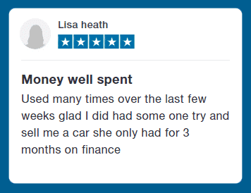 Customer Testimonial - Money Well Spent - Used many times over the last few weeks glad i did had some one try and sell me a car she only had 3 months on finance